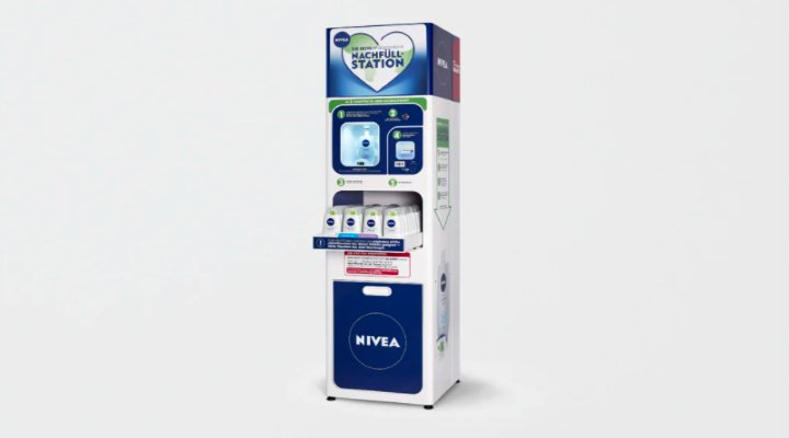 Nivea launches in-store shower-gel refill station to cut back packaging waste. : worldnews