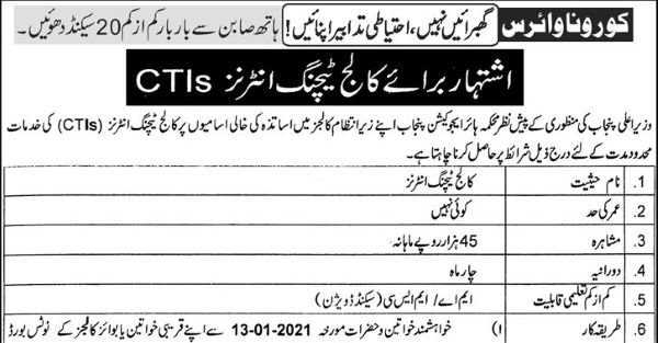 College Teaching Interns (CTIs) Jobs 2021 in all Govt Colleges (Multiple Districts) – Pakistan Jobs