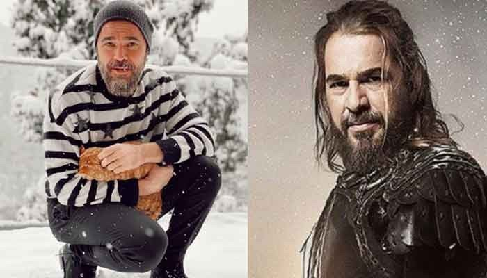 Ertugrul famed Engin Altan enjoys snowfall with his cat, looks like Brad Pitt in new snap
