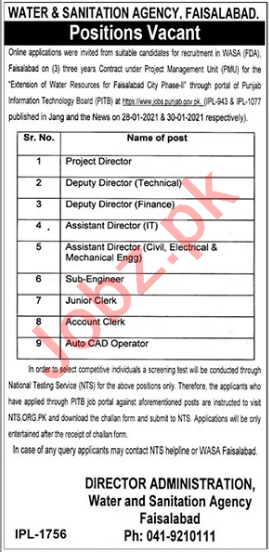 Faisalabad Development Authority FDA Jobs 2021 for Directors