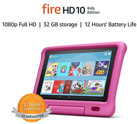 Fire HD 10 Kids Edition Tablet | 10.1″ 1080p Full HD Display, 32 GB, Pink Kid-Proof Case