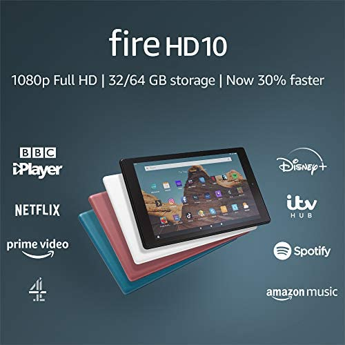 Fire HD 10 Tablet | 10.1″ 1080p Full HD display, 32 GB, Plum – with Ads