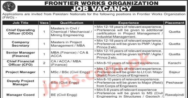 Frontier Works Organization (FWO) Jobs 2021 for COO/CFO, Company Secretary, Finance Manager, Project Managers and Coordination Manager - Pakistan Jobs