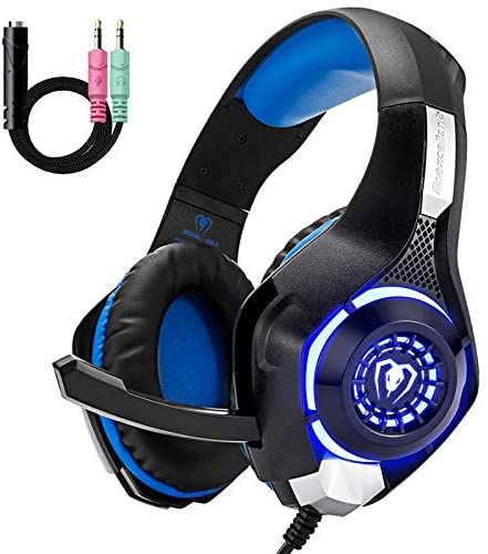 Gaming Headset for PS4 Xbox One, Comfort Noise Reduction Crystal Clarity 3.5mm LED Professional Headphone with Mic for PC Laptop Tablet Mac Smart Phone