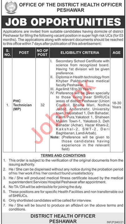 Health Department Peshawar Jobs 2021 for PHC Technician