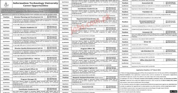 Information Technology University Jobs 2021 for 50+ Directors, Admin, Accounts/Audit, Coordinators, Program Officers and Other – Pakistan Jobs