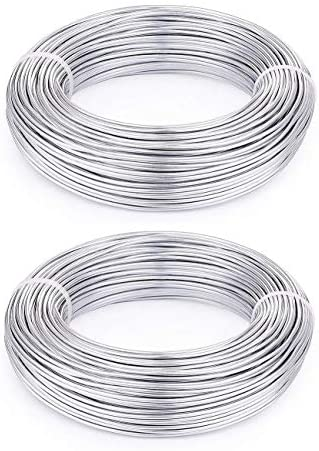 KuTi Kai Aluminium Wire 2 Rolls 5m Length Bendy Craft Silver Wire for Jewelry Making,DIY Sculpture,Modelling Making and Crafts (Silver, 0.8mm)