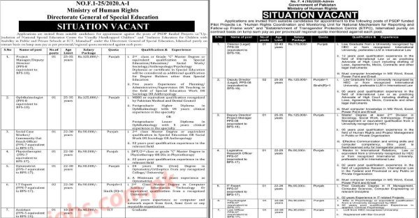Ministry of Human Rights Pakistan Jobs 2021 for Project Manager, Social Case Workers, Assistants, Steno Typists, Clerks, IT, Directors and Other - Pakistan Jobs