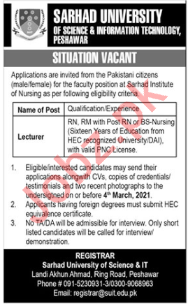 Sarhad University of Science & Information Technology Jobs 2021 Job Advertisement Pakistan