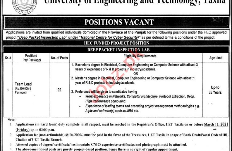 University of Engineering & Technology UET Taxila Jobs 2021 2021 Job Advertisement Pakistan