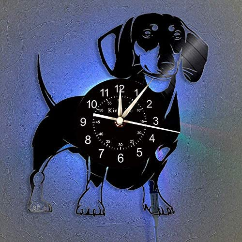 12-Inch Dachshund Dog Record Wall Clock, Retro Hand-made Silent Clocks for Living Room Bedroom Home Decor, for Friends and Dog Lovers,With LED