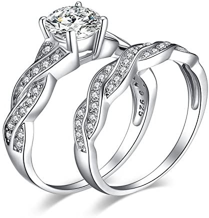 JewelryPalace White Gold Plated 925 Sterling Silver Promise Rings for Women, Wedding Eternity Engagement Rings for her, Infinity Anniversary Simulated Diamond Ring Set, Girls Womens Jewellery Gifts