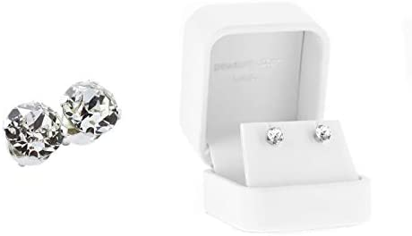 pewterhooter® women's 925 Sterling silver stud earrings made with sparkling crystal from Swarovski. White Gift box. Made in the UK. Hypoallergenic & Nickle Free for Sensitive Ears.