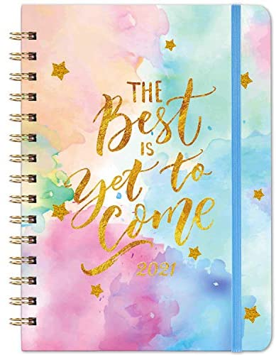 """2021 Diary – Weekly & Monthly Planner, 6.3"""" x 8.4"""", Planner with Twin- Wire Binding, 12 Monthly Tabs, Inner Pocket and Banded"""