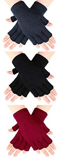 3 Pairs Half Finger Gloves Winter Fingerless Gloves Knit Gloves for Men Women