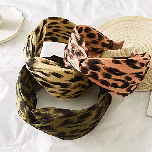 3 Pcs Headbands for Women Knotted Headbands Leopard Print Wide Headbands for Women Fashion Knot Headband Hair Accessories for Women's and Girls (pink, green, khaki)