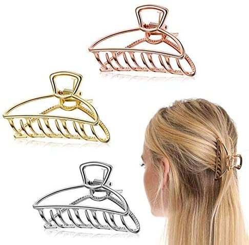 3 Pieces Metal hair Claw Clip, 3 Inches Hair Catch Nonslip for Fixing Hair,Hollow Hair Clamps Hair Styling Accessories for Women Girls