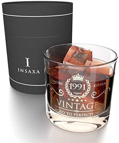 30th Birthday Gifts for Men – Vintage 1991 Lowball Glass Tumbler (380ml)