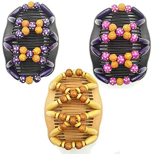 3Pcs Magic Beads Hair Comb Stretch Double Clips Hair Comb Magic Hair Double Clips for Women Girls Hair Accessory DIY Hair Styling Tool Multifunction Hair Double Clips Hair Holder