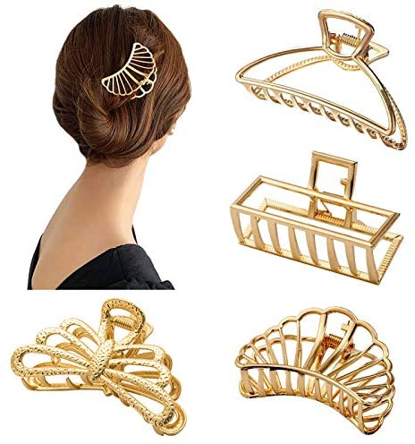 4 Piece Metal Claw Clips Large Hair Clips Ladies Geometric Hair Clips Bowknot Hair Pins Vintage Metal Hair Accessories Headdresses for Girls Ladies Hair Styling (Gold)