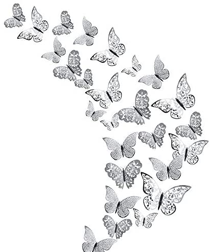 48Pcs Butterfly Decorations, Creatiees 3D Wall Decals Metallic Art Sticker, DIY Handmade Removable Pressure Resistance Paper Murals for Home Kids Bedroom Nursey Party Décor