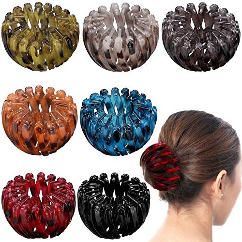 7 Pieces Vintage Geometric Retractable Hair Clips Expandable Ponytail Holder Clip Bird Nest Shaped Hair Clips Hair Accessory Hair Donut Bun Maker Hair Styling Tool for Women Girls