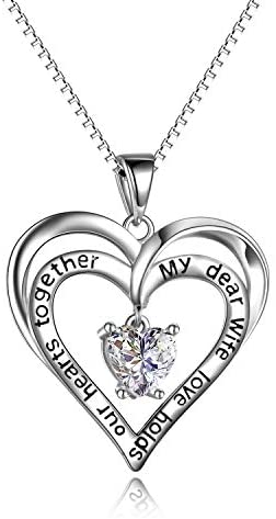 925 Sterling Silver Heart Necklaces for Women,Engraved Cubic Zirconia Pendant Necklace Chain couples Jewellery Gifts For Women Girls Mum Daughter
