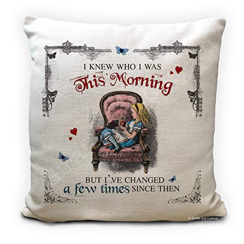 Alice in Wonderland Cushion Pillow Cover, This Morning Quote, Handmade Home Decor Gift, 16 Inches 40cm High Quality
