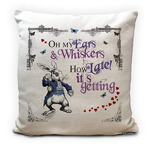 Alice in Wonderland Cushion Pillow Cover, White Rabbit late, Handmade Home Decor Gift, 16 Inches 40cm High Quality