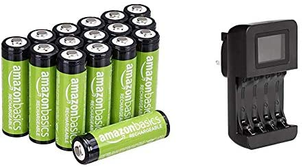AmazonBasics AA Rechargeable Batteries, Pre-charged – Pack of 16 (Appearance may vary) & Intelligent Digital Battery Charger for 4 AA, AAA