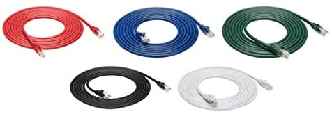 AmazonBasics Snagless RJ45 Cat-6 Ethernet Patch Internet Cable – Pack of 5 – 2.1 Meters, Black/Red/Blue/White/Green