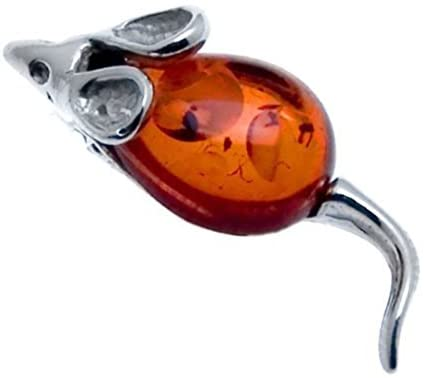 Amber Sterling Silver Mouse Brooch Pin