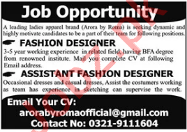 Arora by Roma Jobs 2021 for Fashion Designer