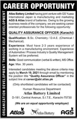 Atlas Battery Limited Job 2021 in Karachi