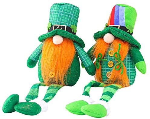 BOKAPA 2pcs Gnome Gonk Ornaments St Patrick's Day Shamrock Decorations Faceless Old Man Plush Doll with Green Elf Hat Sitting Desktop Handmade for Kids Toy Gift Home Party Decor