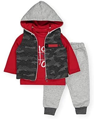 Baby Boy 3pcs Clothing Set   Sleeveless Vest Camouflage Hoodie, Long Sleeve Tops and Tracksuit   Toddler Outfits