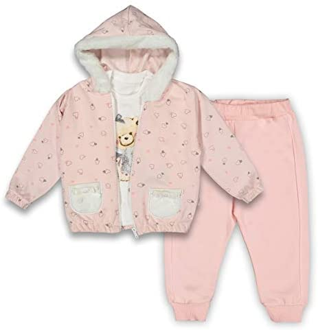 Baby Girl 3pcs Clothing Set   Plush Hoodie Full Zip Jumper Cardigan, Long Sleeve Tops and Tracksuit   Toddler Outfits