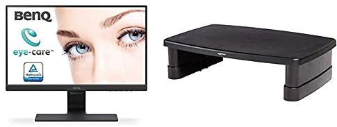BenQ GW2280 22 Inch 1080p Eye Care LED Monitor, Anti-Glare, Dual HDMI, B.I. Sensor for Home Office – Black & Amazon Basics Adjustable Monitor Stand