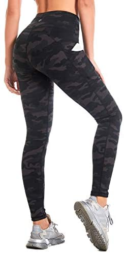 CAMBIVO Camo Yoga Pants with Pockets for Women, High Waisted Workout Tummy Control Leggings Athletic Tights for Running