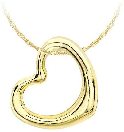 Carissima Gold Women's 9 ct Gold 12 x 14 mm Heart Slider Pendant on 9 ct Gold Diamond Cut Twist Curb Chain Necklace