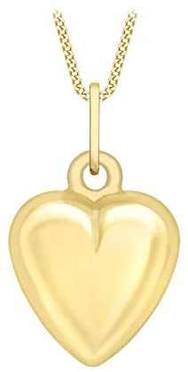 Carissima Gold Women's 9 ct Gold 7.6 x 14.3 mm Puffed Hollow Heart Pendant on 9 ct Gold Diamond Cut Curb Chain Necklace