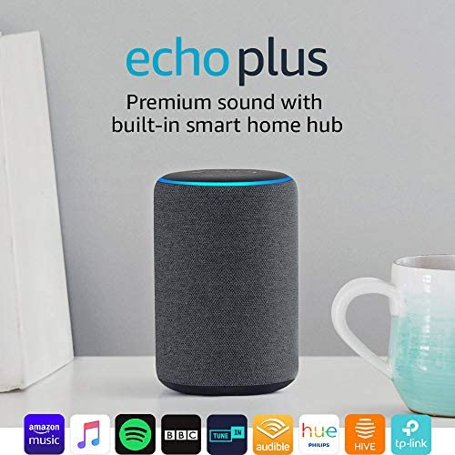 Certified Refurbished Echo Plus (2nd Gen) – Premium sound with a built-in smart home hub - Charcoal Fabric