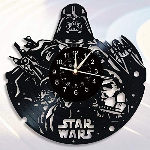 Cheemy Joint Star War Clock Vinyl Record Wall Clock 12-Inch Quartz Clock | Handmade Home Decor Star War Gifts for Kids and Friends | Living Room Bedroom Study Wall Clock.(U2-3 Without LED)