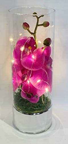Crystal World Glass Vase Led String Light Artificial Pink Orchid Flower Arrangement Ornament Boxed Hand Made Home Decor Keepsake Figurine Gift Celebrations Special Occasions Wedding Day Favour Large