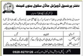 Divisional Model School Bannu Jobs 2021 2021 Job Advertisement Pakistan