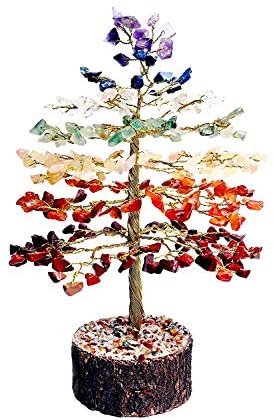 FASHIONZAADI Seven Chakra Crystal Gemstone Tree Feng Shui Bonsai Healing Crystals Stones Money Trees Natural Stone Chakra Balancing Home Office House Decor Great Gift Size :- 10 inch (Golden Wire)