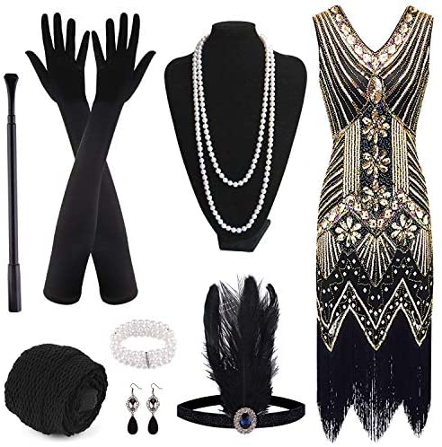 FEPITO 1920s V Neck Sequin Beaded Fringed Dress with 20s Accessories Set