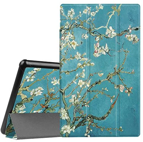 FINTIE Slim Case for All-New Amazon Fire HD 10 Tablet (Compatible with 7th and 9th Generations, 2017 and 2019 Releases) – Ultra Lightweight Protective Stand Cover with Auto Wake/Sleep, Blossom