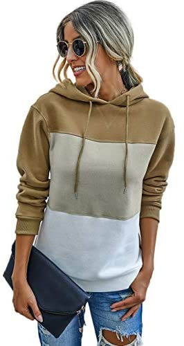 Famulily Women's Color Block Long Sleeve Drawstring Hoodie Pullover Sweatshirt Patchwork Striped Jumper