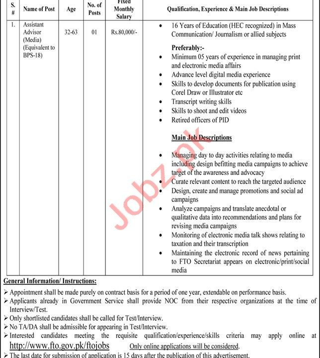 Federal Tax Ombudsman Secretariat Islamabad Jobs 2021
